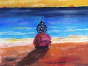 Ung beundrer av horisonten mot Afrika